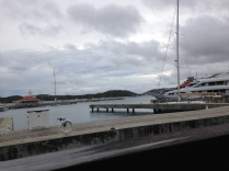 Overcast view of the marina from Fresh Bistro at Yacht Haven Grande