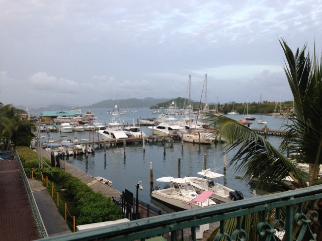 View of St. John and Tortola in the distance beyond the marina.