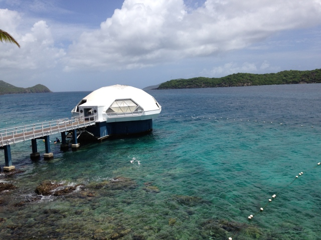 The exploratory dome. You can climb down beneath the water to view fish and coral in their natural habitat.