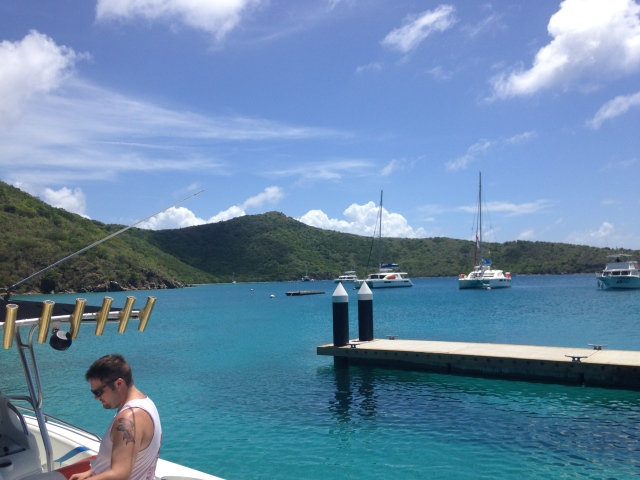 Pulling in at The Bight Bay, Norman Island, BVI